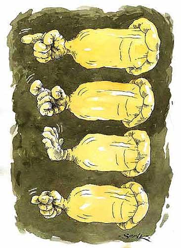 Карикатура: Стой! Кто идёт?