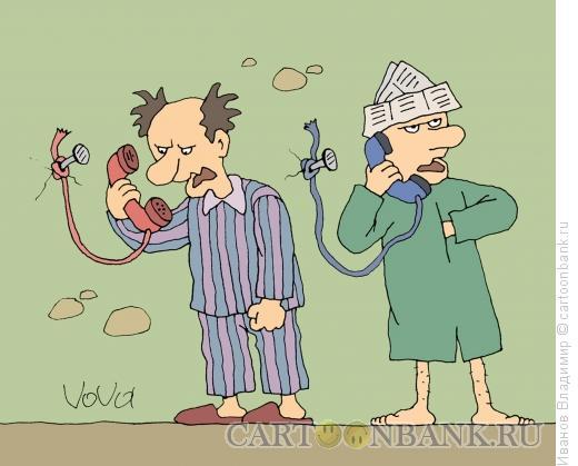 Карикатура: Телефон в психушке, Иванов Владимир