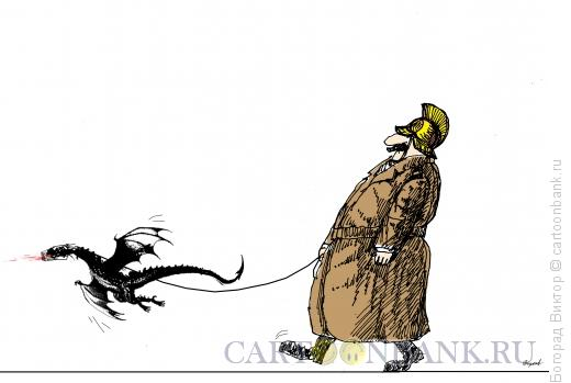 Карикатура: На прогулке, Богорад Виктор