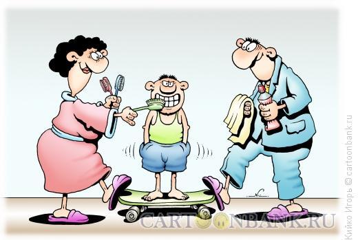 Карикатура: Станок для чистки зубов, Кийко Игорь