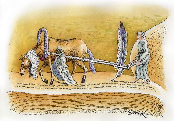 Карикатура: Бремя творчества, Кир Непьющий