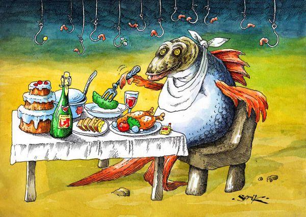 Карикатура: Какая гадость ваши черви!!!, Кир Непьющий