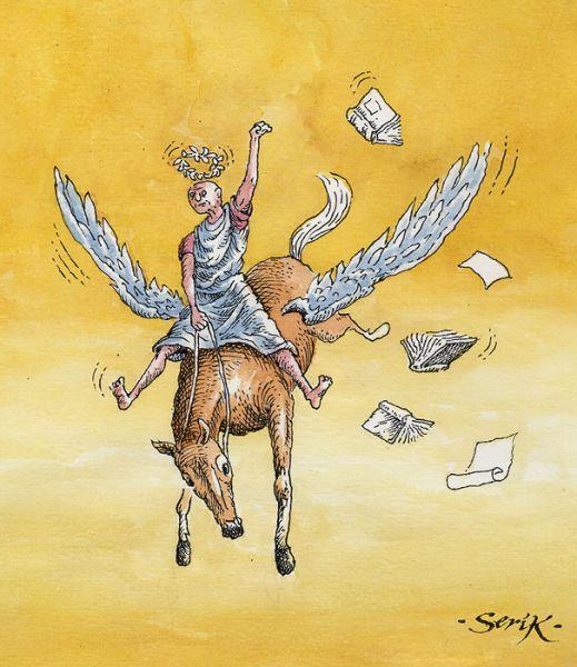 Карикатура: Родео на Парнасе, Кир Непьющий