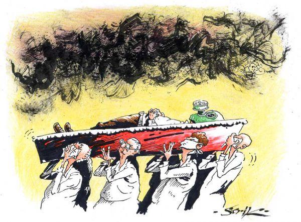 Карикатура: Уберечь покойного, Кир Непьющий