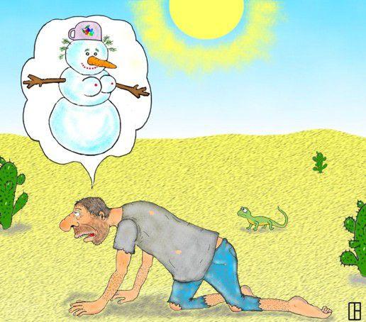Карикатура: Баба снежная, Олег Тамбовцев