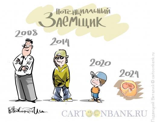 Карикатура: Эволюция заемщика, Подвицкий Виталий
