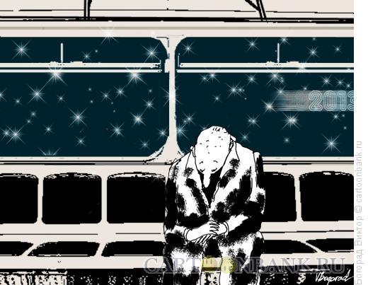 Карикатура: Ночная электричка в метро, Богорад Виктор