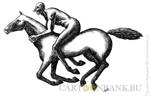 Карикатура: наездник на лошади, Гурский Аркадий