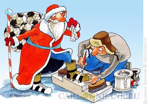 Карикатура: Футбол зимой, Дружинин Валентин