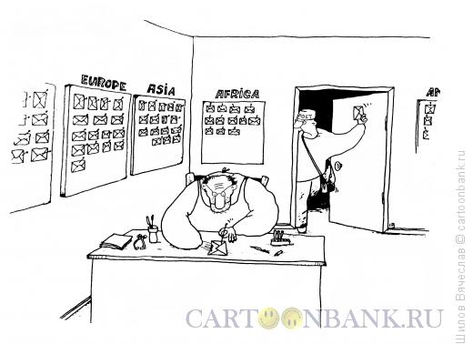 Карикатура: Коллекционер писем, Шилов Вячеслав
