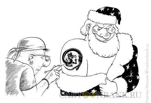 Карикатура: Новогодняя татуировка, Смагин Максим