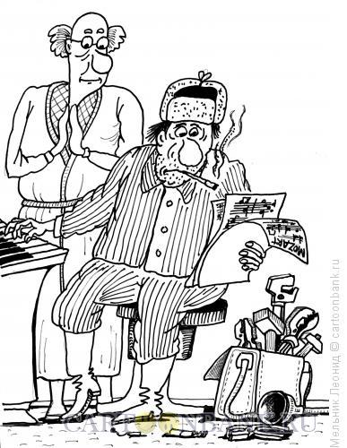 Карикатура: Композитор, Мельник Леонид