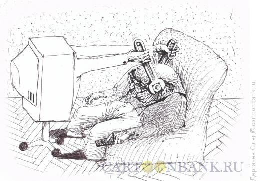 Карикатура: Телезритель, Дергачёв Олег