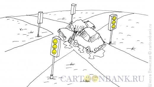 Карикатура: Шутка на дороге, Шилов Вячеслав