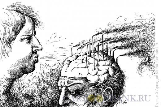 Карикатура: мозг и свечи, Гурский Аркадий