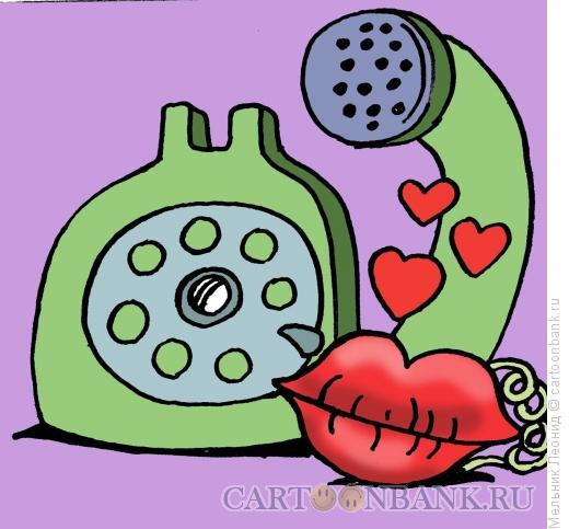 Карикатура: Любовь по телефону, Мельник Леонид