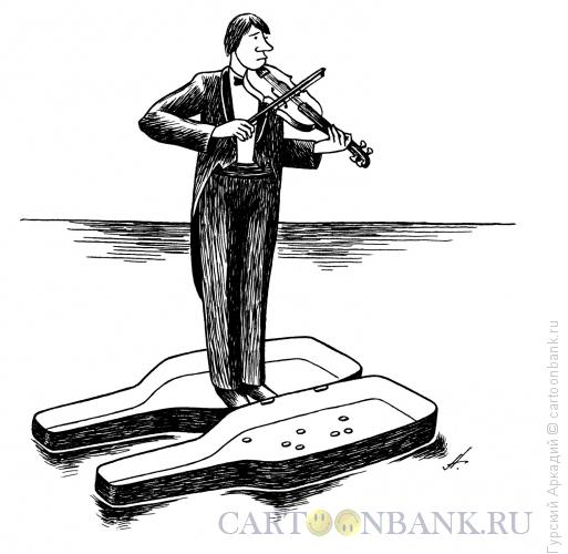 Карикатура: скрипач в футляре, Гурский Аркадий