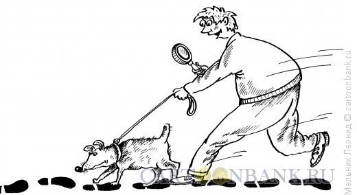 Карикатура: Сыщик, Мельник Леонид
