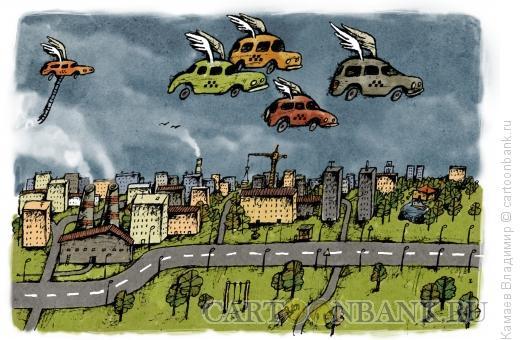 Карикатура: Небесное такси, Камаев Владимир