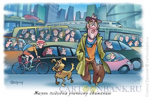 Карикатура: Жизнь - это уличное движение, Осипов Евгений