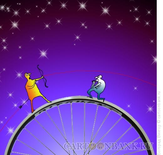 Карикатура: Лучник на колесе, Богорад Виктор