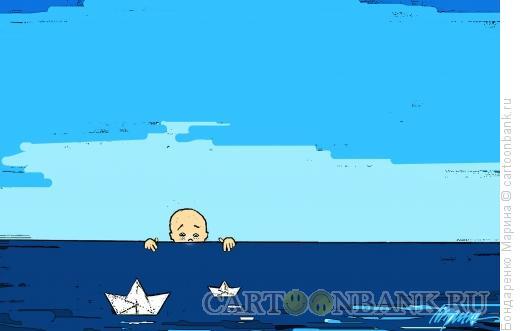 Карикатура: Мальчик смотрит из-за горизонта, Бондаренко Марина