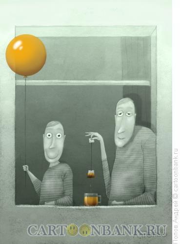 Карикатура: Шарик и чай, Попов Андрей