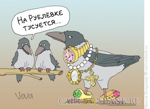Карикатура: Гламурная ворона, Иванов Владимир