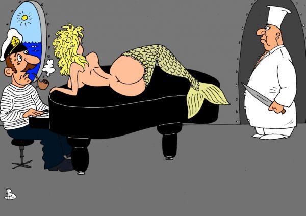 Карикатура: Рыбный день, Валерий Каненков
