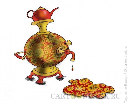 Карикатура: Чай с хохломой, Тарасенко Валерий