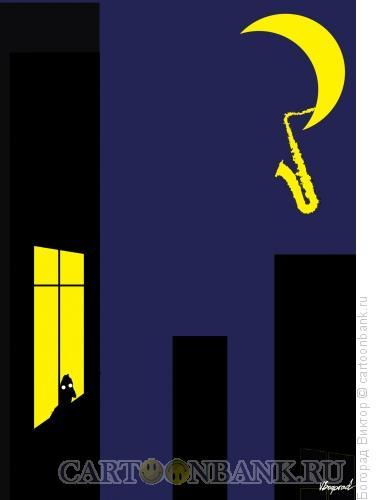 Карикатура: Ночной блюз, Богорад Виктор