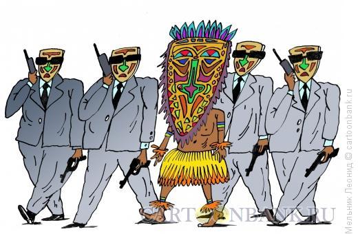 Карикатура: Охрана вождя, Мельник Леонид