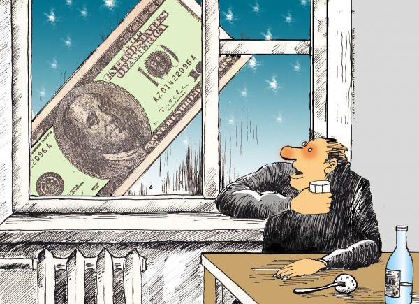 Карикатура: Недоперепил и за окном падал доллар, Николай Кинчаров