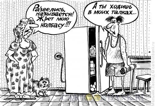 Карикатура: Семейная разборка, Мельник Леонид