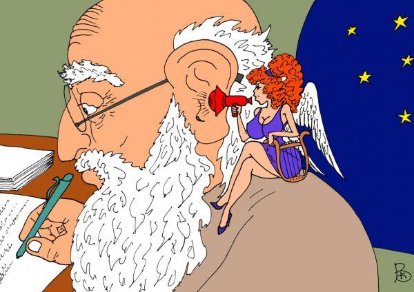 Карикатура: Преданная Муза, Валерий Каненков