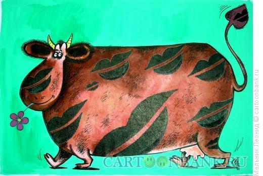 Карикатура: Корова влюбленная, Мельник Леонид