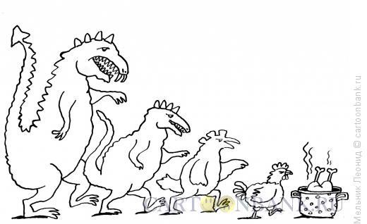 Карикатура: Конец динозаврам, Мельник Леонид