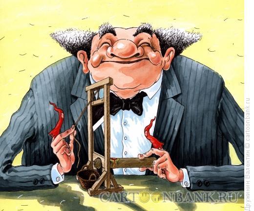 Карикатура: Гильотина для курильщика, Дружинин Валентин