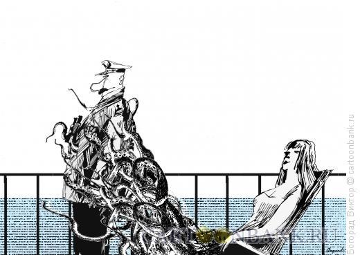 Карикатура: Капитан и туристка, Богорад Виктор