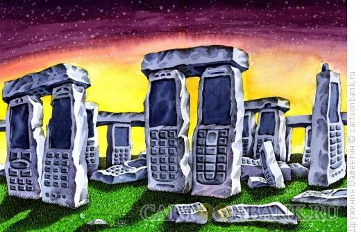 Карикатура: Памятник из мобильных, Дружинин Валентин