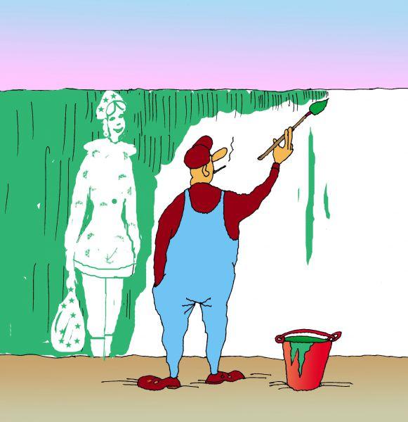 Карикатура: Снегурочка как мечта, Николай Кинчаров