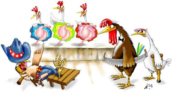 Карикатура: Петухи, Ануфриев