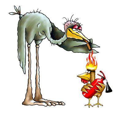 Карикатура: Страус и петух, Ануфриев