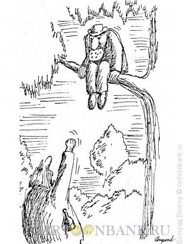 Карикатура: Пьяница с сыром на дереве, Богорад Виктор
