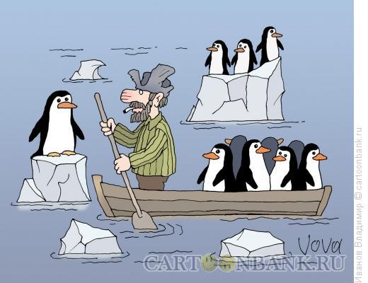 Карикатура: Мазай и пингвины, Иванов Владимир