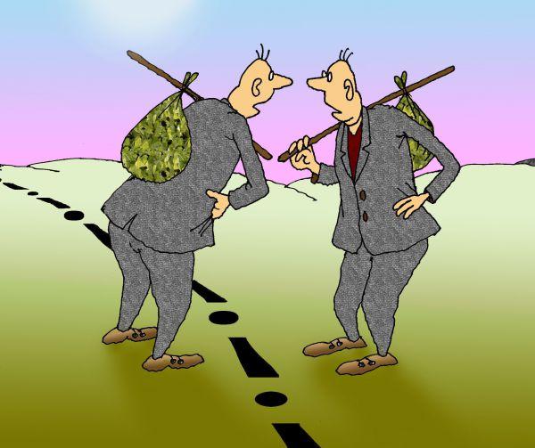 Карикатура: Все несчастливые люди похожи друг на друга, Николай Кинчаров