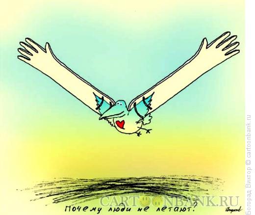 Карикатура: Почему люди не летают, Богорад Виктор