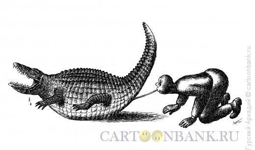 Карикатура: надувание крокодила, Гурский Аркадий