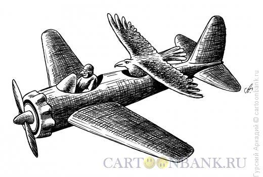 Карикатура: птица в самолёте, Гурский Аркадий