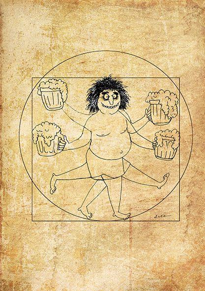 Карикатура: Человек пивной, Алла Сердюкова